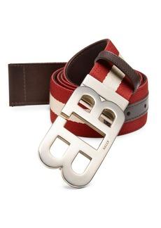 Bally Mirror B Striped Belt