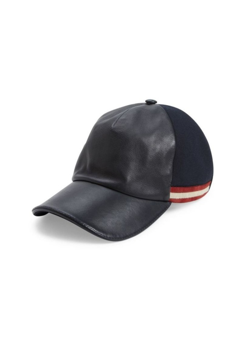 Bally Leather Striped Baseball Cap