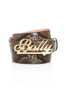 Bally Men's Swoosh Snake-Embossed Leather Belt