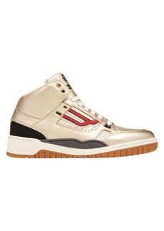 Bally Champion King Metallic Leather High Top Sneakers