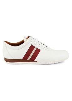 Bally Frenz Textile-Stripe Leather Sneakers
