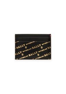 Bally Goldtone Logo Leather Card Case