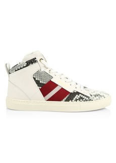Bally Hedern New Snake-Print High-Top Leather Sneakers