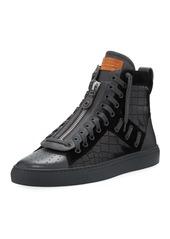 Bally Men's Hekem Croc-Embossed Leather High-Top Sneakers