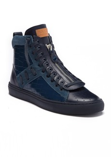 Bally Hekem Crocodile Embossed Leather High-Top Sneaker