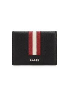 Bally Logo Stripe Leather Card Holder