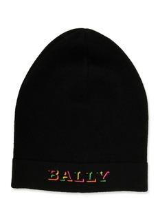 Bally Men's Rib-Knit Wool Beanie Hat with Neon Logo