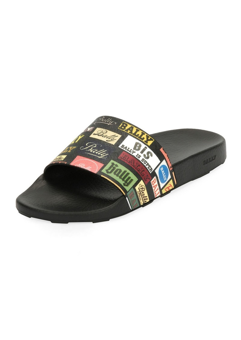 b7bb05f92 Bally Men's Slanter Multi-Logo Pool Slide Sandal | Shoes