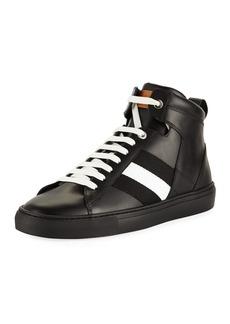 Bally Men's Vitello High-Top Sneakers with Trainspotting Stripe