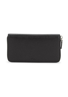 Bally Pebbled Leather Zip-Around Continental Wallet