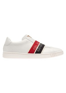Bally Wilson Wicker Logo Band Leather Slip-On Runners