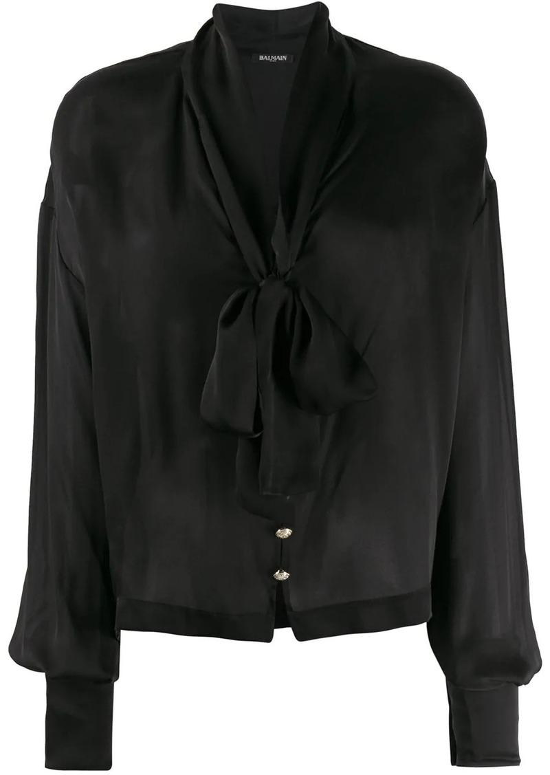 Balmain pussy-bow detail blouse