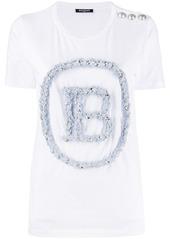 Balmain textured logo T-shirt
