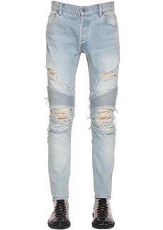 Balmain 15cm Destroyed Slim Cotton Denim Jeans