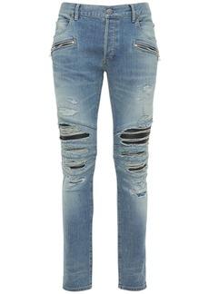 Balmain 15cm Ribbed Patches Destroy Denim Jeans
