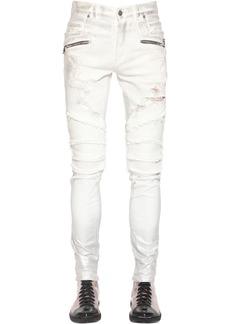 Balmain 15cm Silver Laminated Slim Denim Jeans