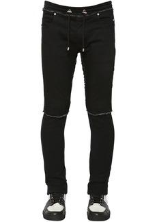 Balmain 15cm Slim Denim & Jersey Sweatpants
