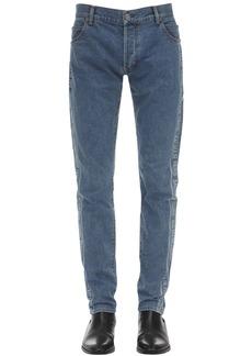 Balmain 15cm Slim Stretch Jacquard Denim Jeans