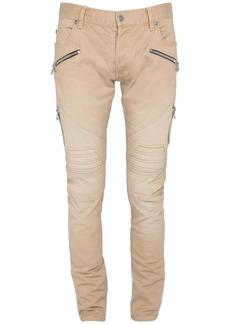 Balmain 15cm Vintage Embossed Denim Slim Jeans
