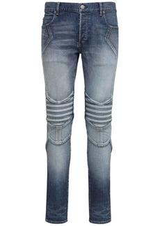 Balmain 15cm Vintage Embossed Slim Denim Jeans