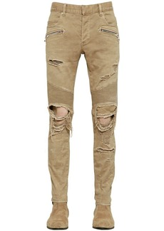 Balmain 16cm Biker Destroyed Camo Denim Jeans