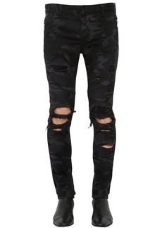 Balmain 16cm Slim Camo Destroyed Denim Jeans