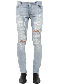 Balmain 17cm Skinny Destroyed Denim Jeans