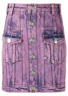 Balmain acid wash denim skirt