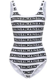 Balmain All Over Logo One Piece Swimsuit