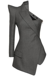 Balmain Asymmetric Flannel Wool Jacket