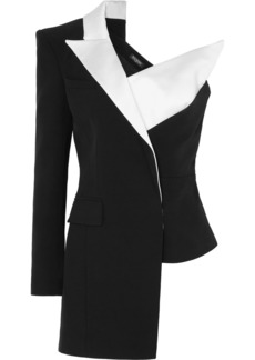 Balmain Asymmetric One-shoulder Satin-trimmed Crepe Blazer