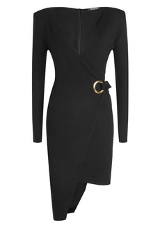 Balmain Asymmetric Wool Dress with Eyelets