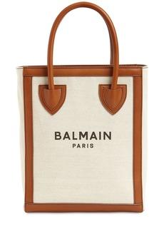 Balmain B-army Canvas & Leather Tote