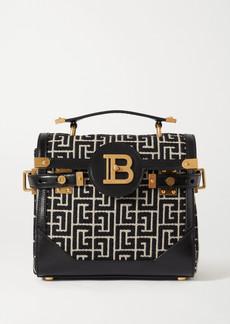 Balmain B-buzz 23 Leather-trimmed Jacquard Shoulder Bag