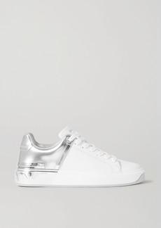 Balmain B-court Matte And Metallic Leather Sneakers
