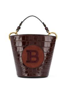 Balmain logo-patch saddler bucket bag