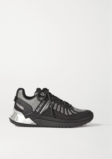 Balmain B-trail Leather And Glittered Mesh Sneakers