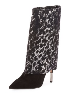Balmain Babette Sequined and Suede Booties