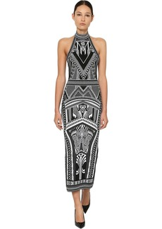 Balmain Backless Jacquard Knit Long Dress