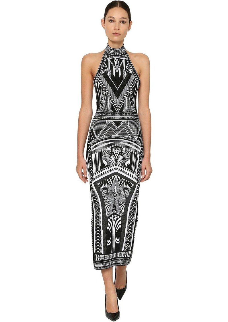 Balmain Backless Jacquard Knit Long Dress