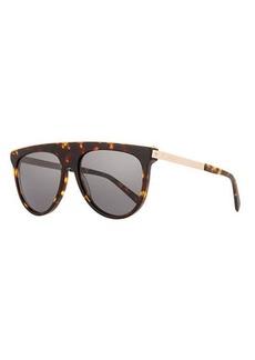Balmain Acetate & Metal Flattop Aviator Sunglasses