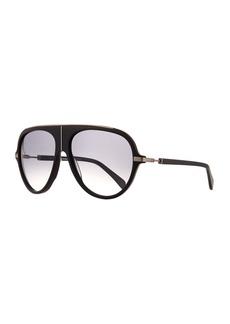 Balmain Acetate Aviator Sunglasses w/ Metal Accents