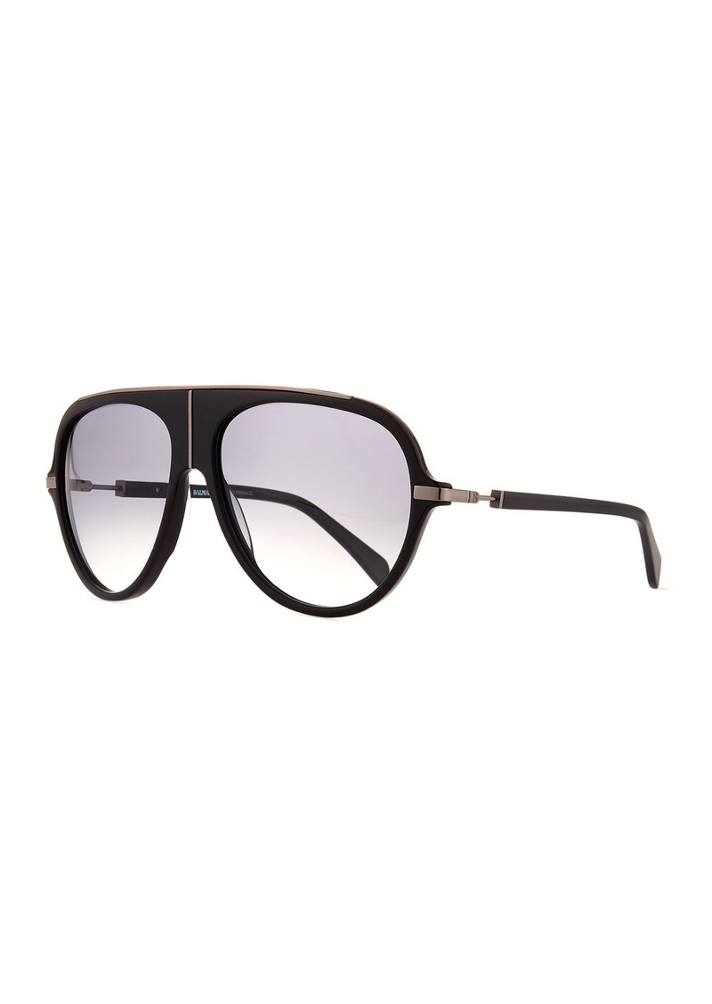 c25fb3f40 Balmain Acetate Aviator Sunglasses w/ Metal Accents Black | Sunglasses