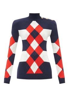 Balmain Argyle striped wool-blend sweater