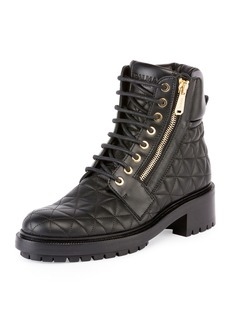 Balmain Army Quilted Leather Combat Boot