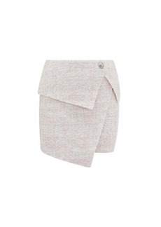 Balmain Asymmetric bouclé-tweed wrap skirt