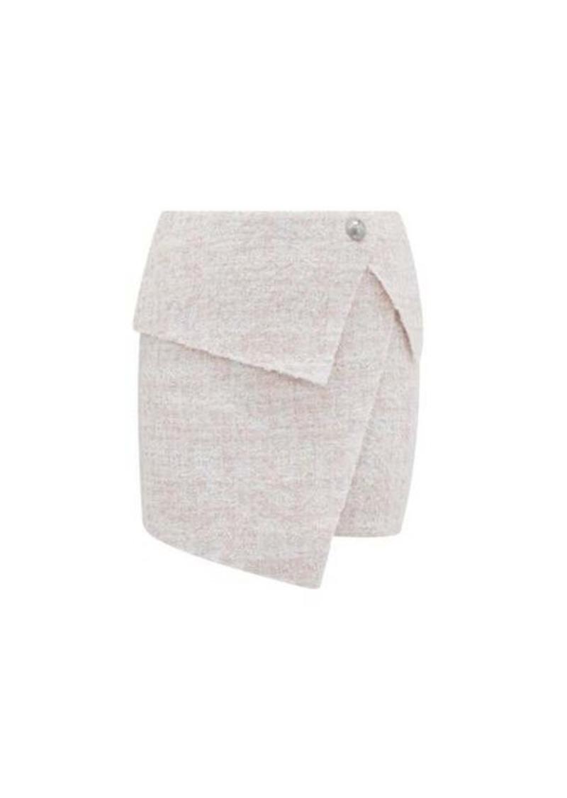 Balmain Asymmetric bouclé-tweed wrap skirt