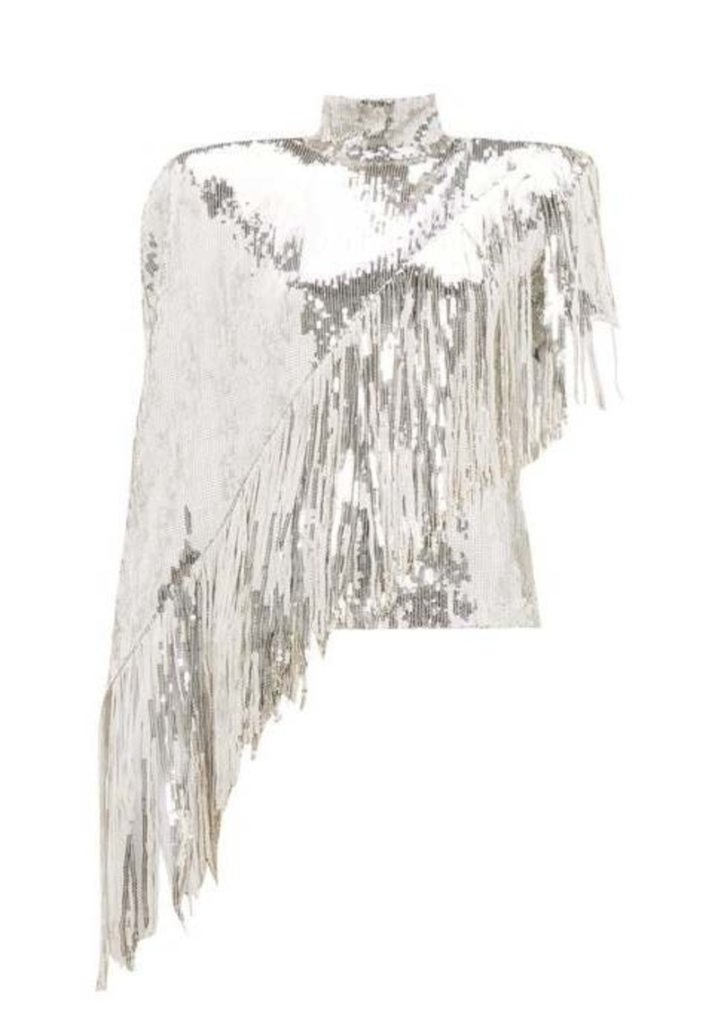 Balmain Asymmetric-fringe sequinned top