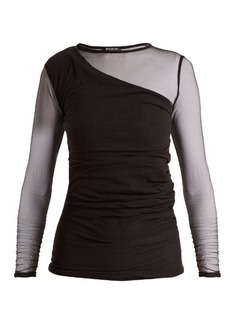 Balmain Asymmetric-front semi-sheer top