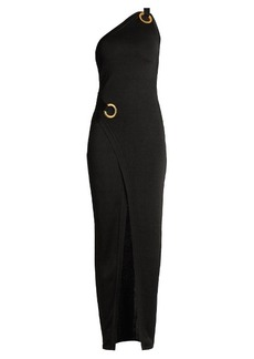 Balmain Asymmetric one-shoulder knit gown